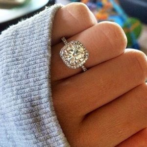dream engagement ring perfection cushion cut halo with thin band with diamonds on the band