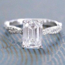 emerald cut diamond engagement wedding ring