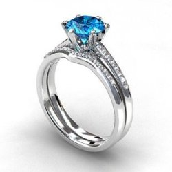 engagement ring set, Swiss blue topaz, Diamond band, wedding ring set, gold