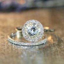 halo diamond wedding ring round natural white topaz