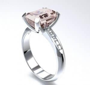 morganite engagement ring white gold emerald cut morganite