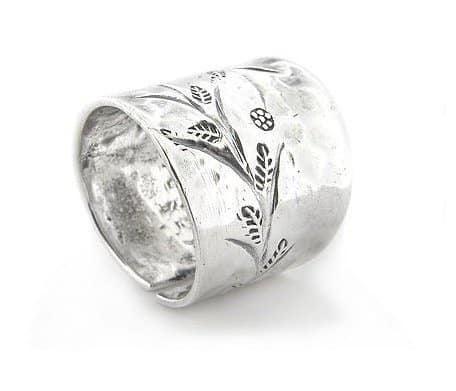 flower-sprig-etched-hammered-finish-adjustable-thumb-ring-sterling-silver
