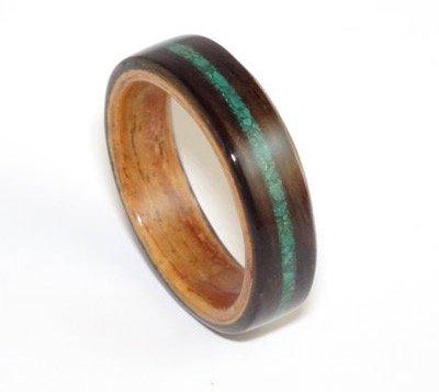 bent-wood-ring-ebony-padauk-with-malachite-inlay-mens-wood-ring-womens-wood-ring