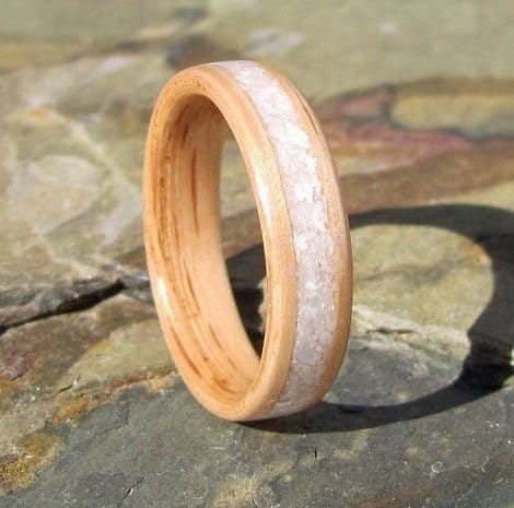 handcrafted-oak-bentwood-ring-with-crushed-mother-of-pearl-inlay-wooden-anniversary-wedding-band