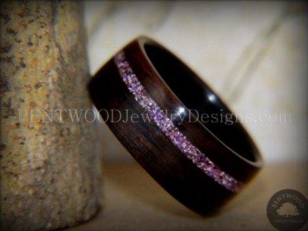 Macassar Ebony Wood Ring with Silver Amethyst Glass Inlay