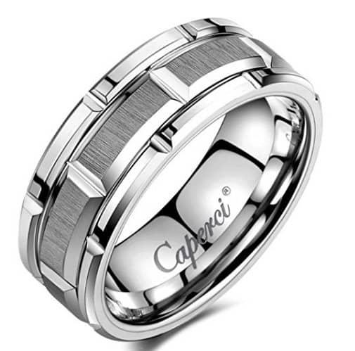 tungsten-rings-for-men-caperci-mens-8mm-brick-pattern-carbide-tungsten-wedding-band