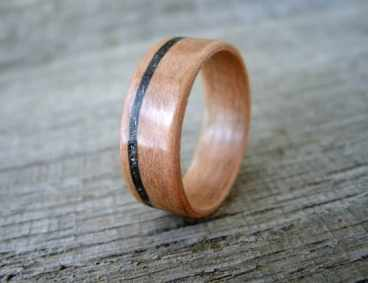 wooden-ring-pearwood-with-hematite-inlay-bentwood-ring-wedding-ring-engagement-ring