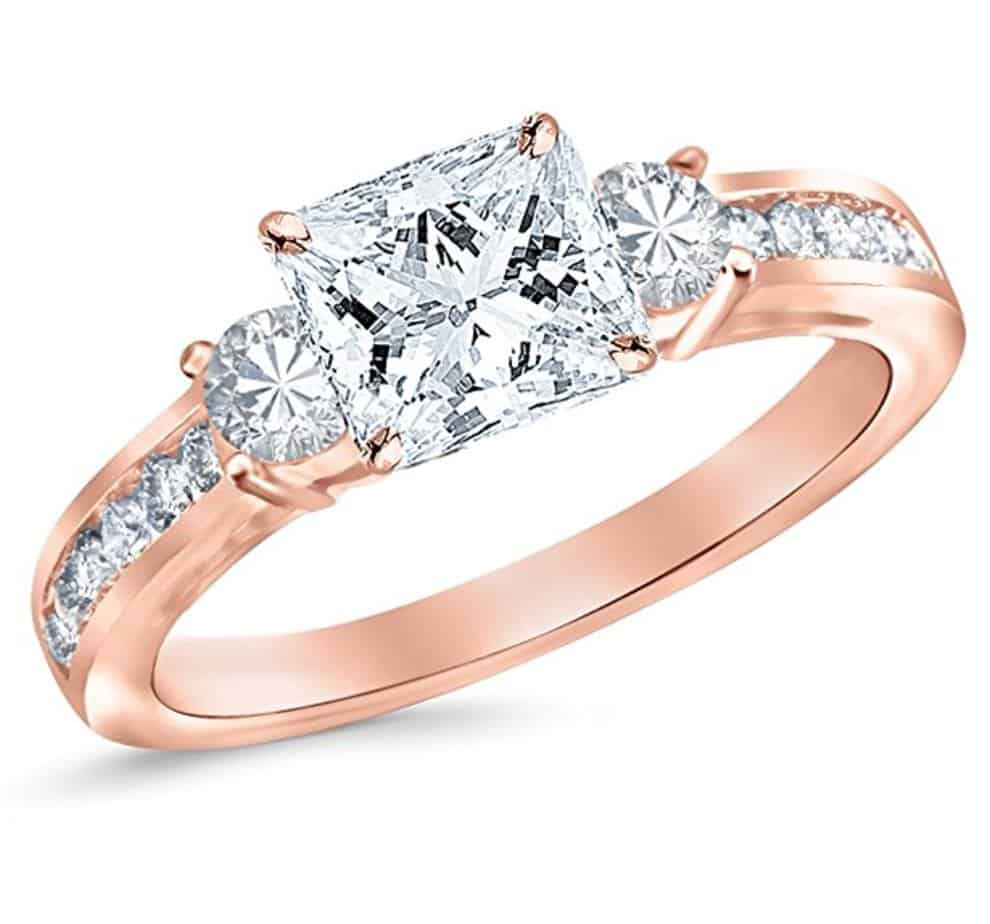 1c94847fe35f 150 Carat Diamond Rings With Center Natural Princess Cut In 14K