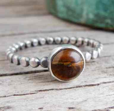 tiger-eye-ring-sterling-silver-dotted-band-stacking-ring-womens-jewelry-brown-stone