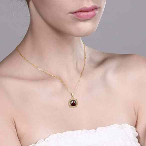 10K Yellow Gold Women's 8mm Cushion Checkerboard Red Garnet and Diamond Accent Necklace