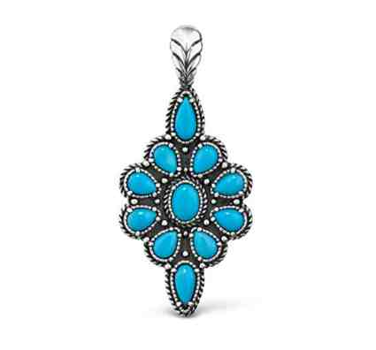 American West Jewelry Sterling Silver Sleeping Beauty Turquoise Pendant Enhancer