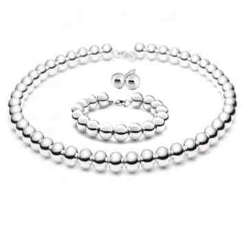 Designer Inspired 10mm Hollow LARGE SHINY POLISHED Italian Sterling Silver Round BALL Bead Necklace 18in with 8 Bracelet and 10mm Ball Stud Earrings SET COMBO