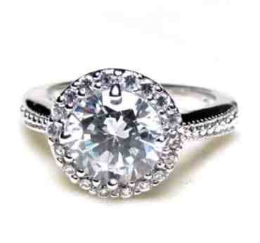 Halo Design 2 62 Ct Round Brilliant Cut Cz Enement Ring