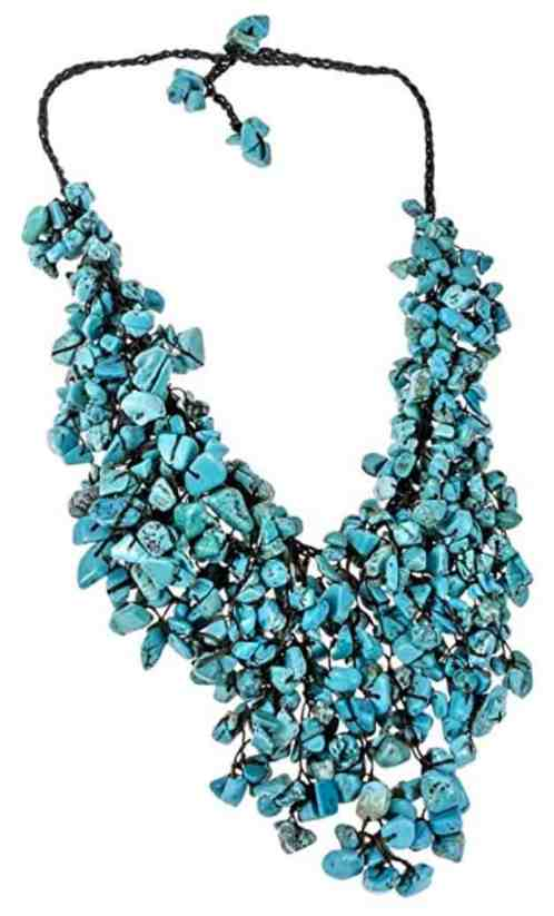 Handmade Simulated Turquoise Waterfall On Cotton Wax Rope Bib-Style Statement Toggle Necklace review