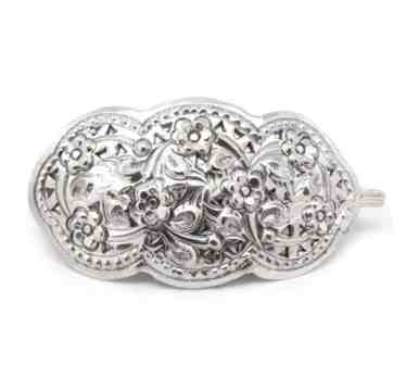 Medium Ornate Victorian Style and Daisy Flower Sterling Silver Hair Clip Pin Barrette