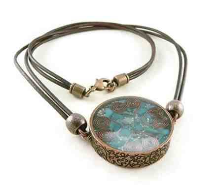 Orgone Energy Large Reversible Pendant Necklace in Antique Copper Finish with Turquoise