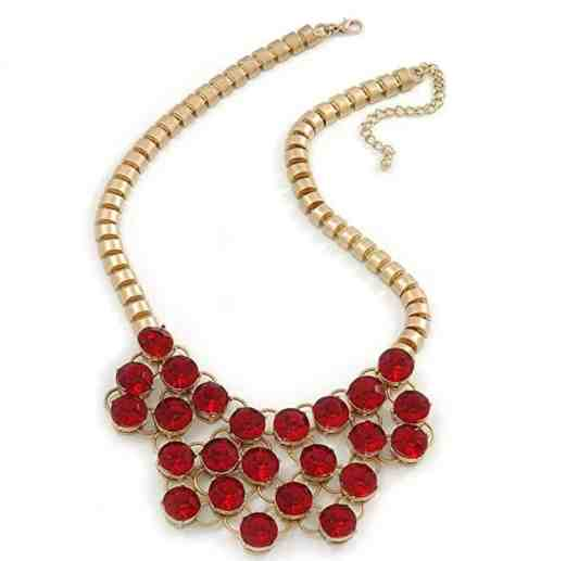 Red Glass Crystal Bib Necklace In Gold Plated Metal
