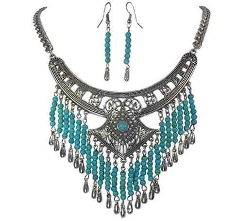 Silver Tone Simulated Turquoise Dangle Fringe Western Southwestern Look Necklace Earring Set