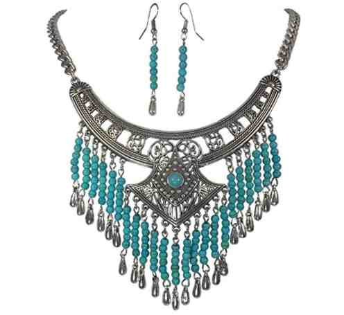Silver Tone Simulated Turquoise Dangle Fringe Western Southwestern Look Necklace Earring Set