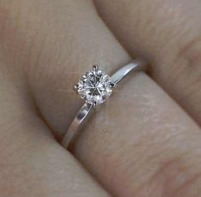 solitaire round brilliant cut diamond engagement ring 060 carat fvs2 14k white gold - Wedding Ring Cuts