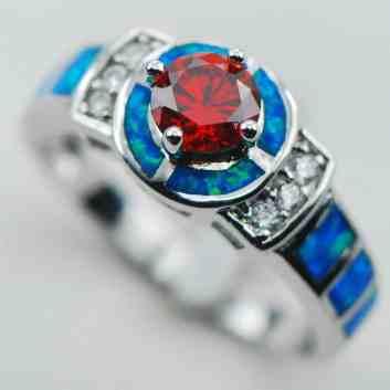 blue garnet engagement ring