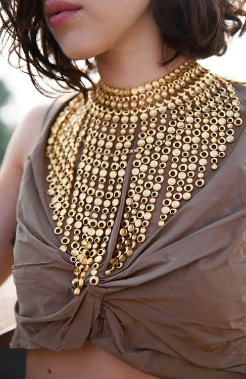 gold boho statement necklace