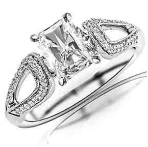 0.7 Carat t.w. GIA Certified Radiant Cut 14K White Gold Vintage Style Split Shank Milgrain Diamond Engagement Ring (I-J Color VS1-VS2 Clarity)