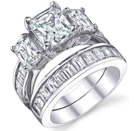 2 Carat Radiant Cut Cubic Zirconia CZ Sterling Silver Women's Engagement Ring