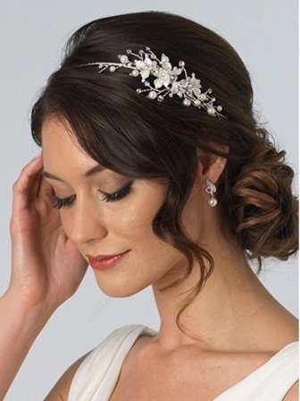 Leaf Bridal Headband Leaves, Simulated Pearl Side Bridal Headpiece