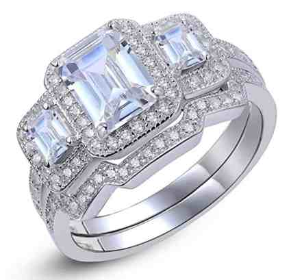 Newshe 3 Ct Radiant Cut White Cz 925 Sterling Silver Wedding Band Engagement Ring Sets