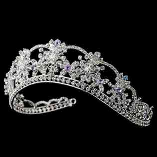 Nicole Swarovski Crystal Light Blue & Amethyst Wedding Bridal Tiara