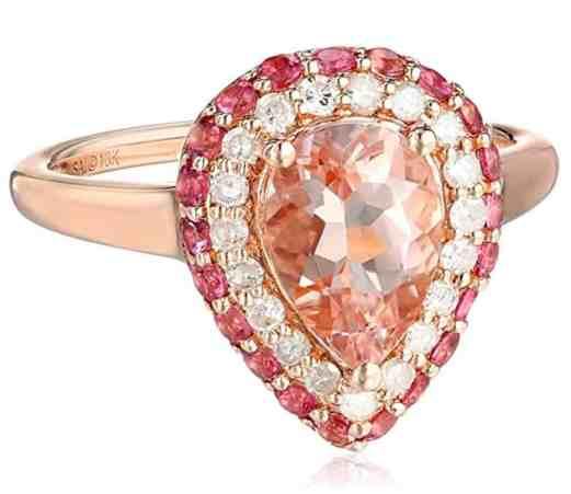 10k Rose Gold Morganite, Pink Tourmaline, and Diamond Ring