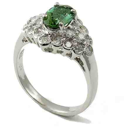 14K White Gold Genuine Green Tourmaline Ring