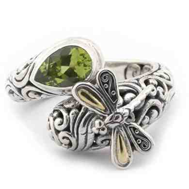18k Yellow Gold & Sterling Silver Peridot Filigree Bypass Dragonfly Ring