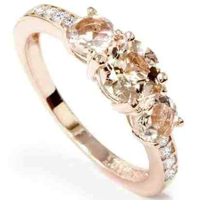 1ct Morganite Diamond 3-Stone Engagement Ring 10k Rose Gold