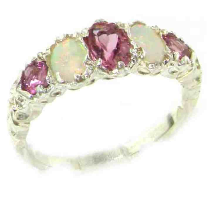 925 Sterling Silver Natural Pink Tourmaline and Opal Womens Band Ring