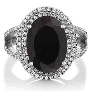 GemStoneKing 6.44 Carat 14X10MM Oval Natural Genuine Black Onyx Women's Ring Solid 925 Sterling Silver Cocktail Ring