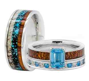 His and Her Wedding Rings Set Natural Genuine Blue Topaz Deer Antler Turquoise Koa Wood Stainless Steel and Sterling Silver CZ