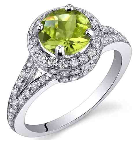Majestic Sensation 1.25 Carats Peridot Ring in Sterling Silver Rhodium Nickel Finish Sizes 5 to 9