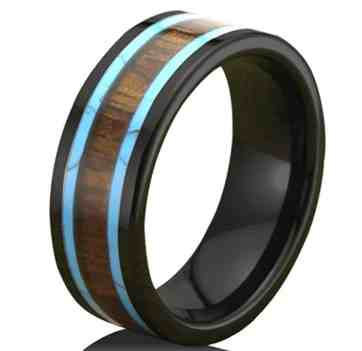 Men Women 8mm Black Ceramic Ring Vintage Wedding Engagement Band with Koa Wood Two Lines Solid Turquoise