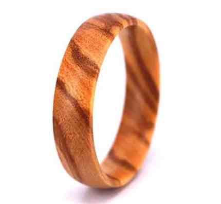 SOLEED Rings Wooden Wedding Band For Men and Women, 6mm Natural Olive Wood Ring, Comfort Fit Design, Domed Top