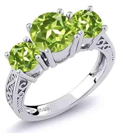 Sterling Silver Round Genuine Green VS Peridot 3-Stone Women's Ring