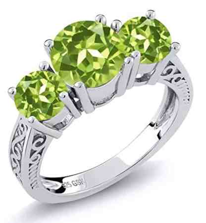 Sterling Silver Round Genuine Green VS Peridot 3-Stone Women's Ring