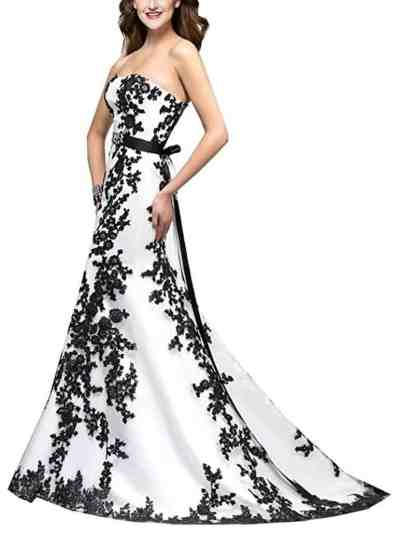 Fancygowns Women's Strapless Black Appliques Satin Sash Wedding Dress for Bride