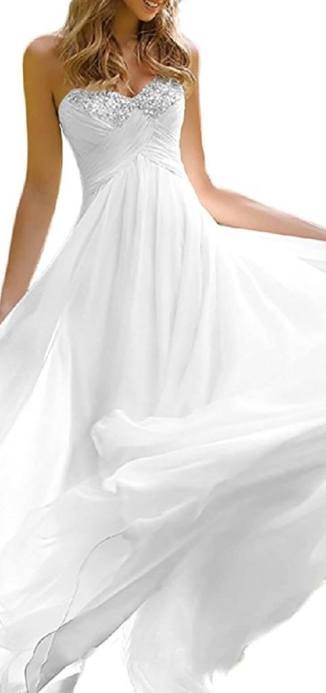 Favors Dress Women's Sweetheart Beach Wedding Dress Bead Bridal Gown Empire