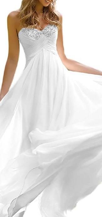 Favors Dress Women's Sweetheart Beach Wedding Dress Bead Bridal Gown Empire