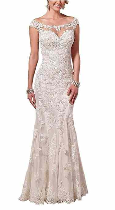Firose Satin Sheath Illusion Neckline Wedding Dresses Lace Mermaid review