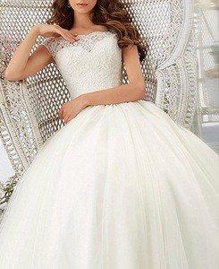 Firose Simple Long A-Line Cap Sleeve Train Lace Wedding Dresses Elegant Prom Dress review
