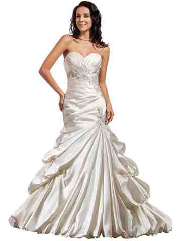 GEORGE BRIDE Luxury Mermaid:Trumpet Satin Chapel Train Wedding Dress