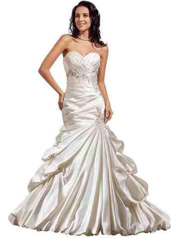 GEORGE BRIDE Luxury Mermaid:Trumpet Satin Chapel Train Wedding Dress